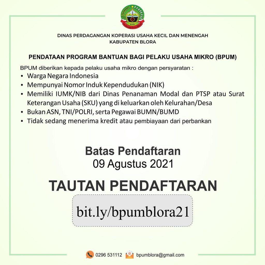 Brosur Pembukaan Pendaftaran Penerima BPUM 2021 Tahap III Kabupaten Blora
