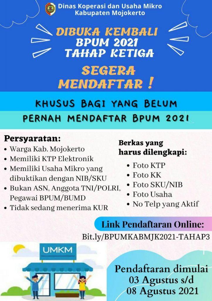 Brosur Pembukaan Pendaftaran Penerima BPUM 2021 Tahap III Kabupaten Mojokerto