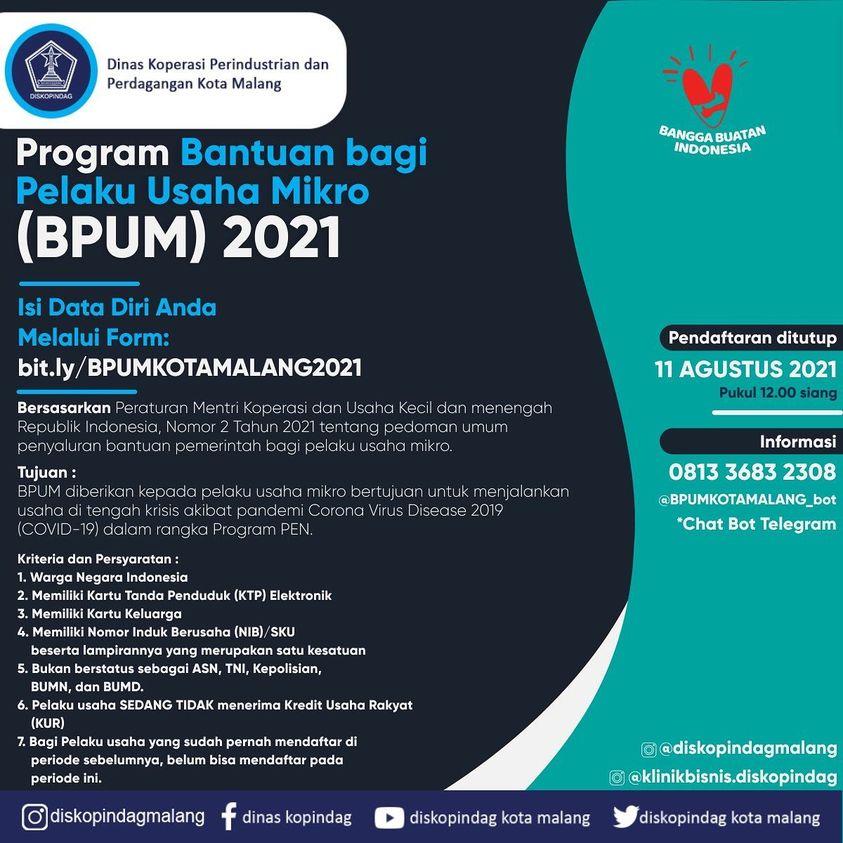Brosur Pembukaan Pendaftaran Penerima BPUM 2021 Tahap III Kota Malang