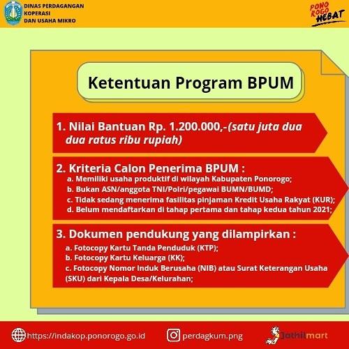 Ketentuan Brosur Pembukaan Pendaftaran Penerima BPUM 2021 Tahap III Kabupaten Ponorogo