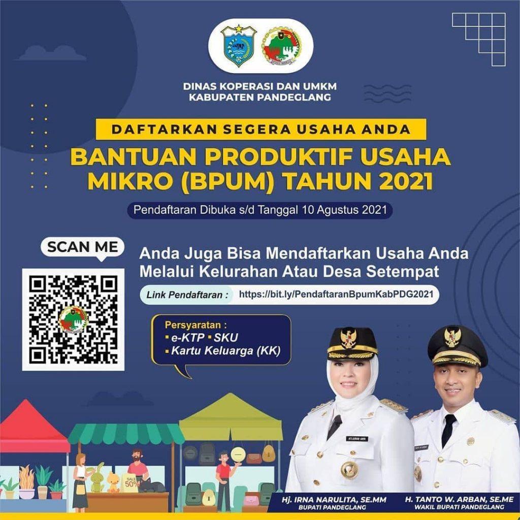 Brosur Pembukaan Pendaftaran Penerima BPUM 2021 Tahap III Kabupaten Pandeglang