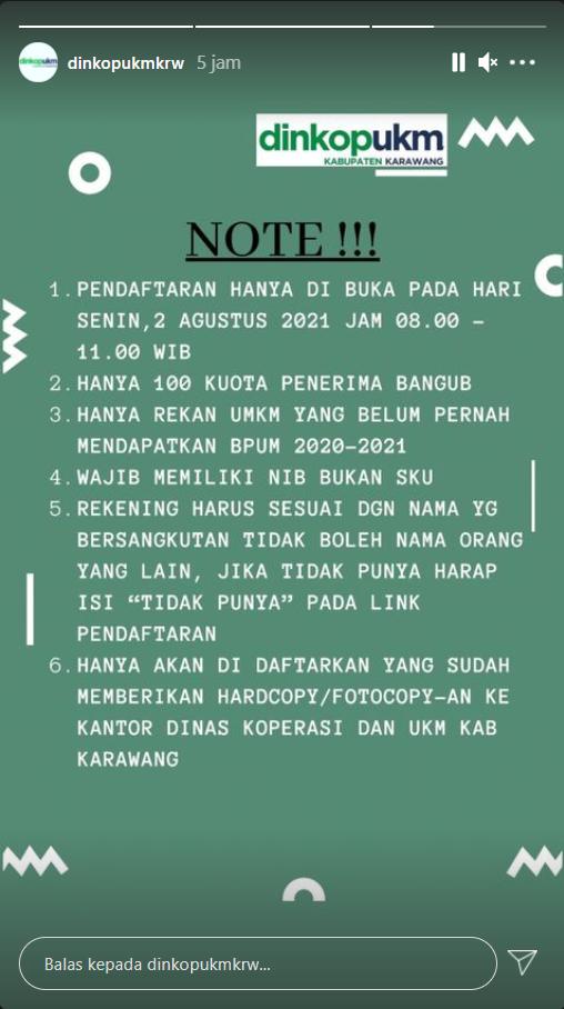Pembukaan Pendaftaran Penerima BPUM 2021 Tahap III Kabupaten Karawang 3