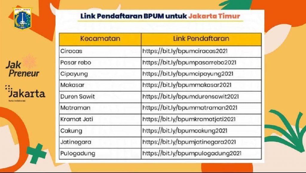 Brosur Pembukaan Pendaftaran Penerima BPUM 2021 Tahap III Jakarta Timur