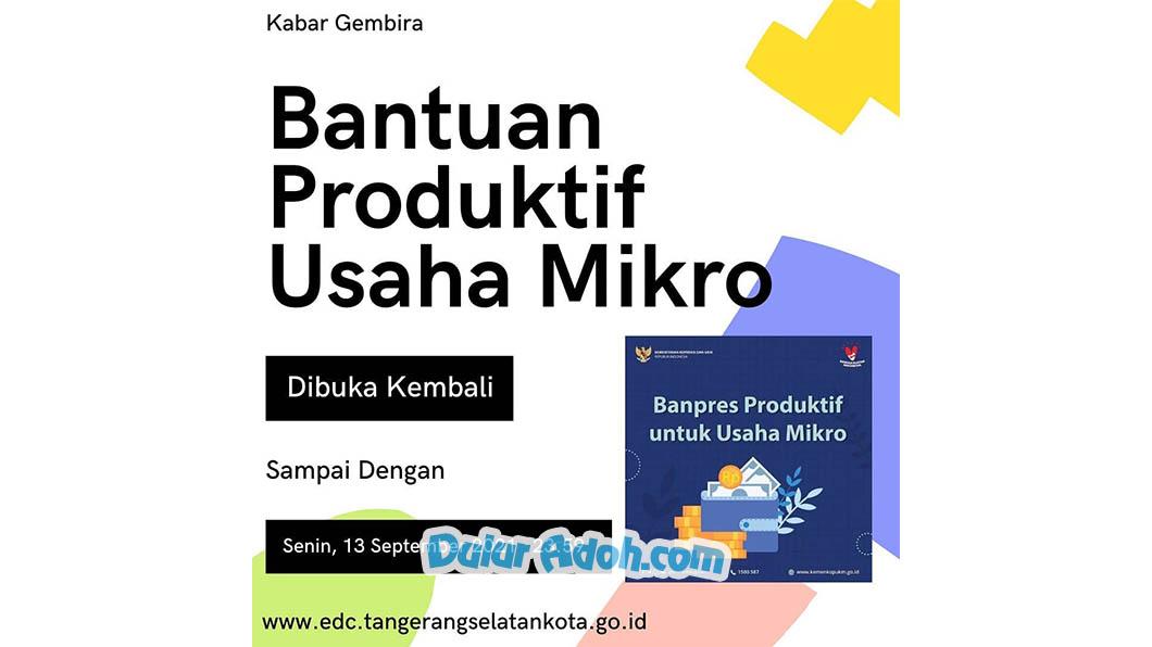 Link Daftar BPUM Tahap 4 Kota Tangerang Selatan September 2021edc.tangerangselatankota.go.id