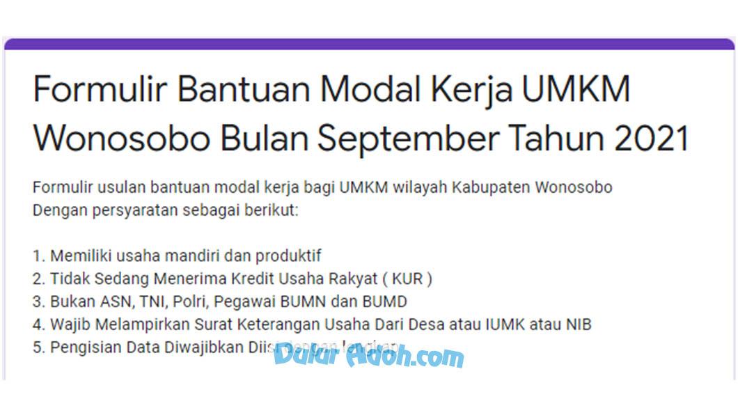 Link Daftar BPUM Tahap 4 Kab. Wonosobo September 2021 bit.ly/FormulirBPUMSeptember2021Wonosobo