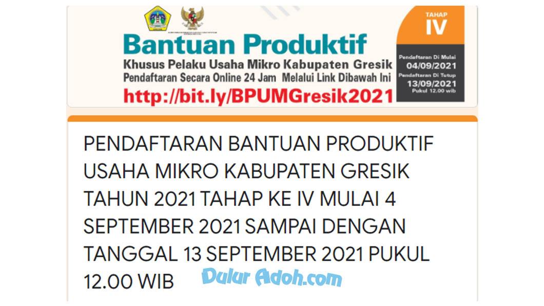 bit.ly/BPUMGresik2021 Link Daftar BPUM Tahap 4 Kab. Gresik September 2021