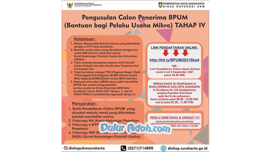 bit.ly/BPUM2021Ska4 Link Daftar BPUM Tahap 4 Kota Surakarta September 2021