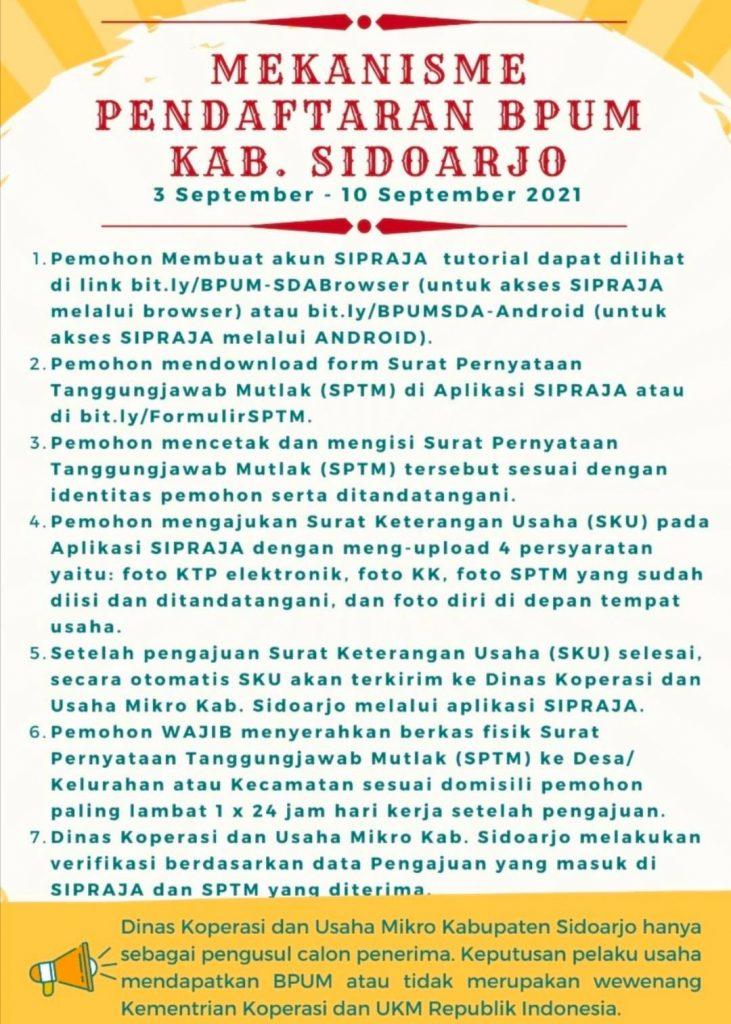 Brosur Pembukaan Pendaftaran Penerima BPUM 2021 Tahap IV Kabupaten Sidoarjo
