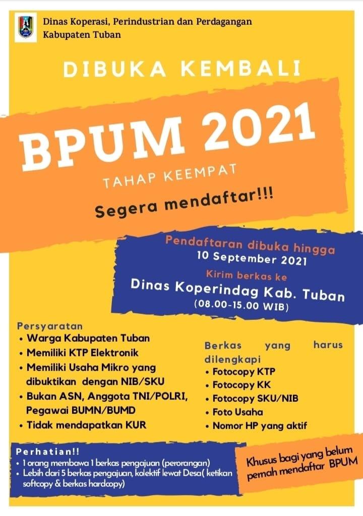 Brosur Pembukaan Pendaftaran Penerima BPUM 2021 Tahap IV Kabupaten Tuban