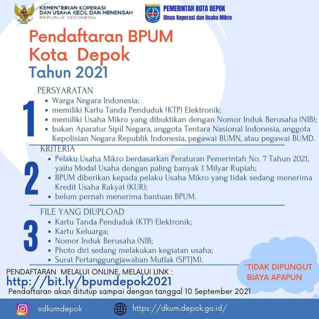 Brosur Pembukaan Pendaftaran Penerima BPUM 2021 Tahap IV Kota Depok