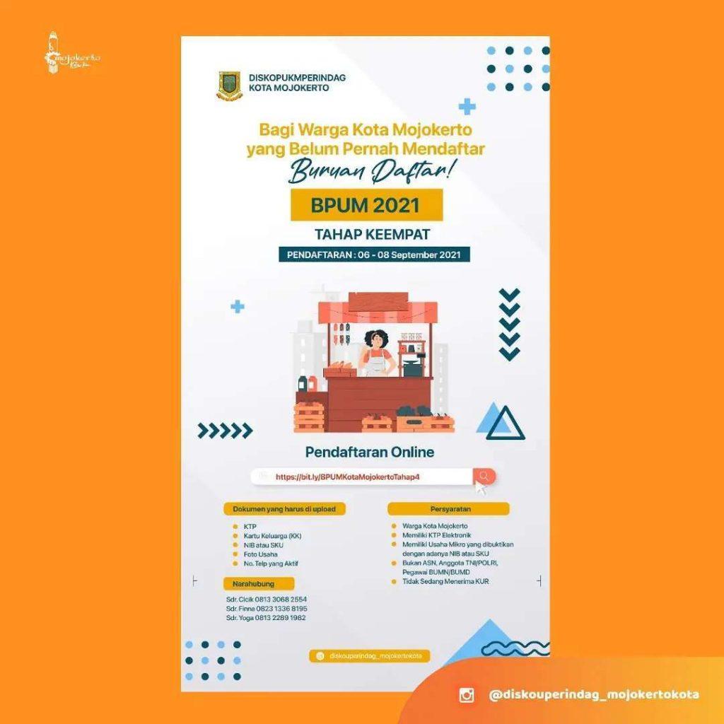 Brosur Pembukaan Pendaftaran Penerima BPUM 2021 Tahap IV Kota Mojokerto
