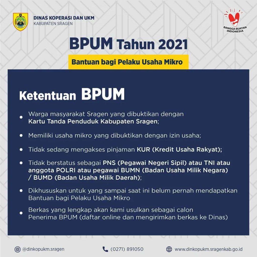 Keterangan Brosur Pembukaan Pendaftaran Penerima BPUM 2021 Tahap IV Kabupaten Sragen