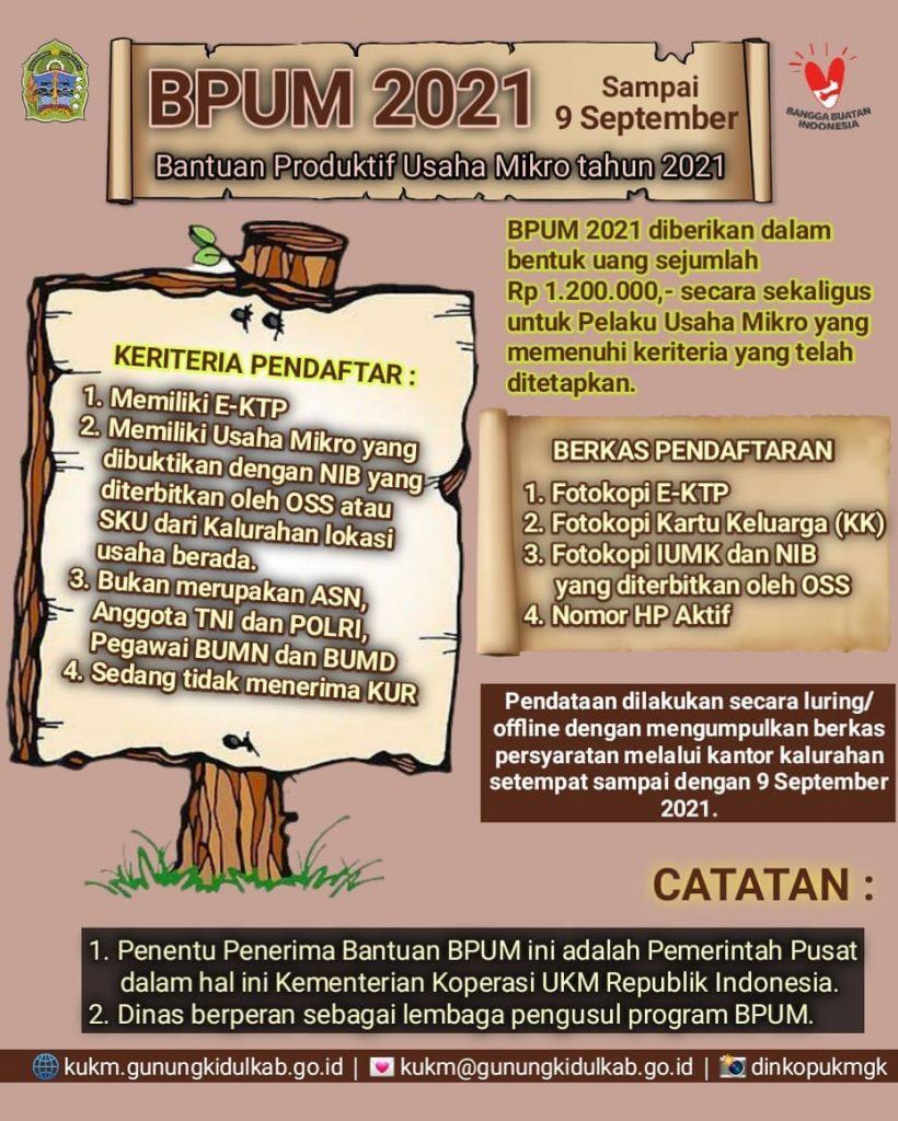 Brosur Pembukaan Pendaftaran Penerima BPUM 2021 Tahap IV Kabupaten Gunungkidul