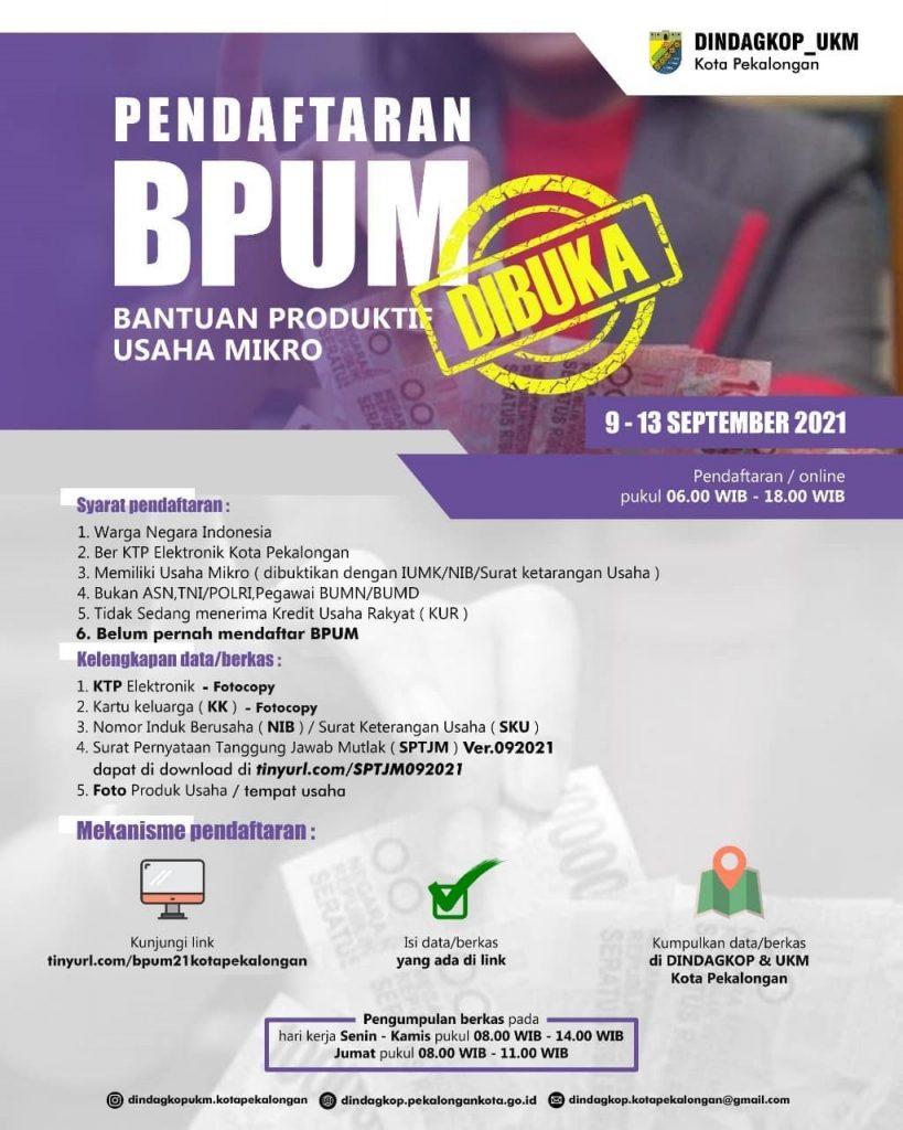 Brosur Pembukaan Pendaftaran Penerima BPUM 2021 Tahap IV Kota Pekalongan
