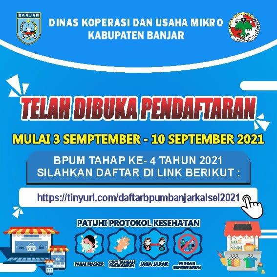Brosur Pembukaan Pendaftaran Penerima BPUM 2021 Tahap IV Kabupaten Banjar