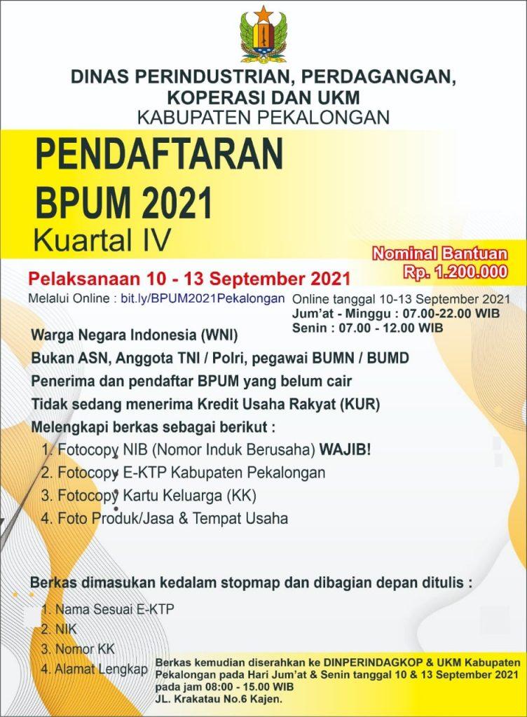 Brosur Pembukaan Pendaftaran Penerima BPUM 2021 Tahap IV Kabupaten Pekalongan