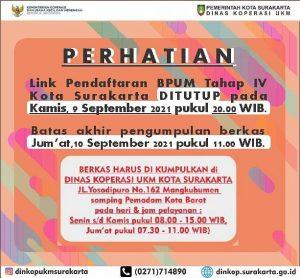 Brosur Pengumuman Pendaftaran Penerima BPUM 2021 Tahap IV Kota Surakarta