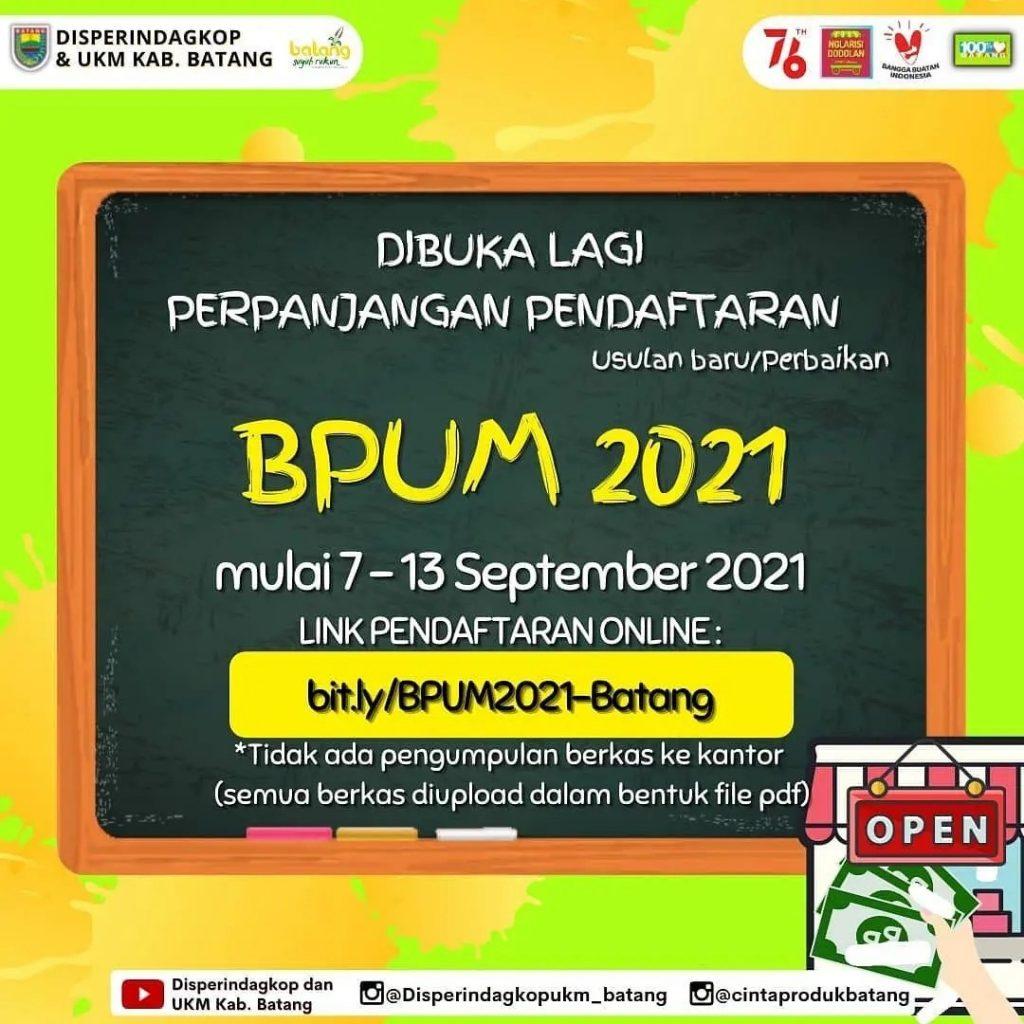 Brosur Pembukaan Pendaftaran Penerima BPUM 2021 Tahap IV Kabupaten Batang