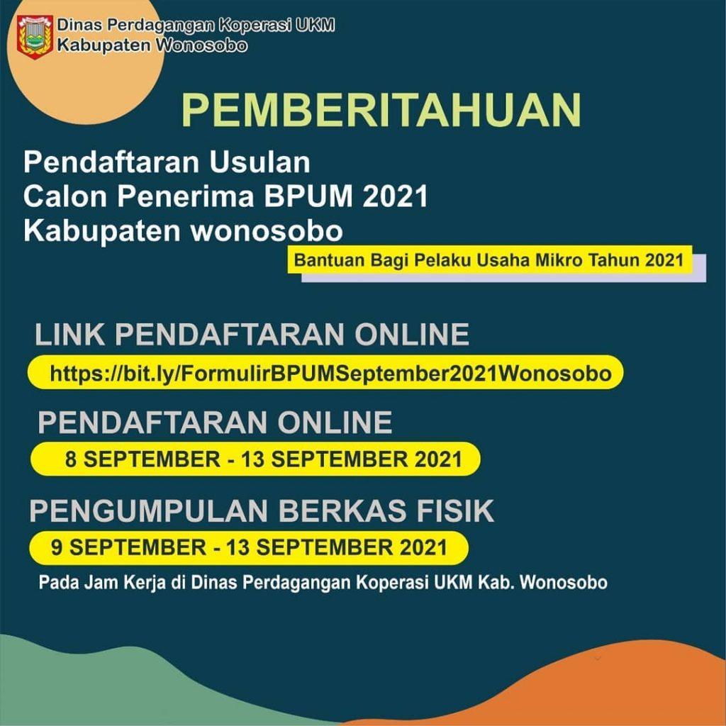 Brosur Pembukaan Pendaftaran Penerima BPUM 2021 Tahap IV Kabupaten Wonosobo