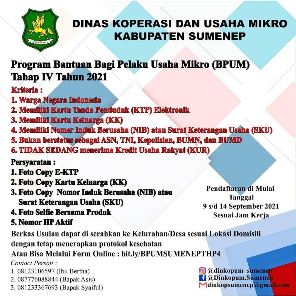 Brosur Pembukaan Pendaftaran Penerima BPUM 2021 Tahap IV Kabupaten Sumenep