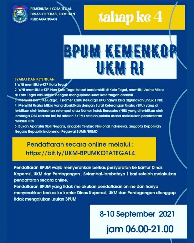 Brosur Pembukaan Pendaftaran Penerima BPUM 2021 Tahap IV Kota Kendal