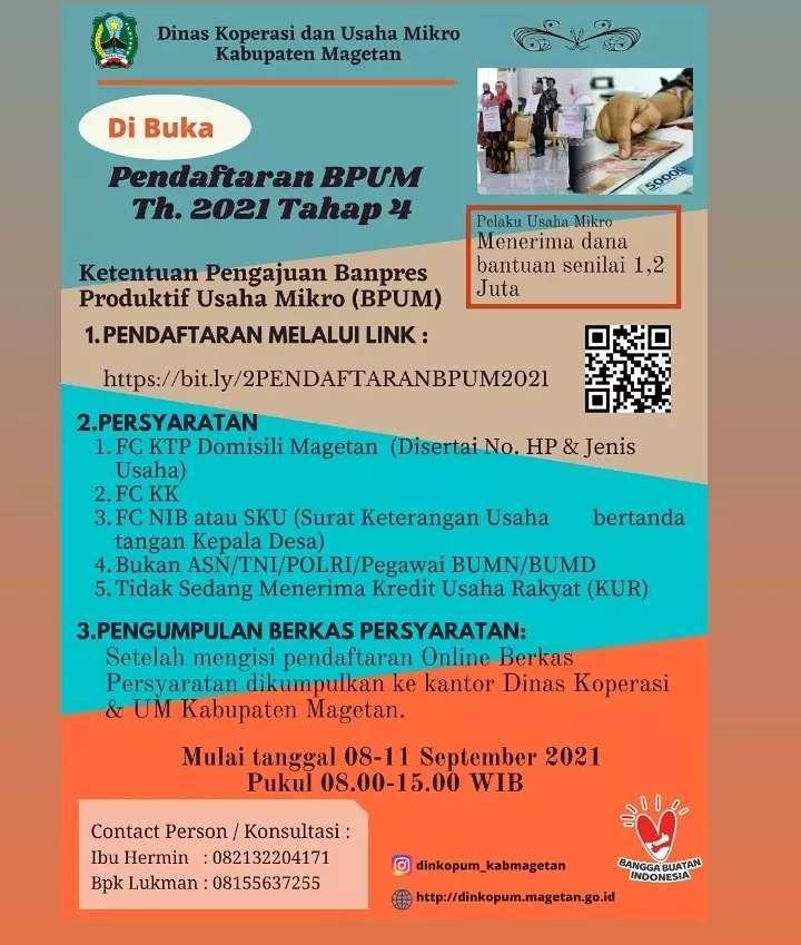 Brosur Pembukaan Pendaftaran Penerima BPUM 2021 Tahap IV Kabupaten Magetan