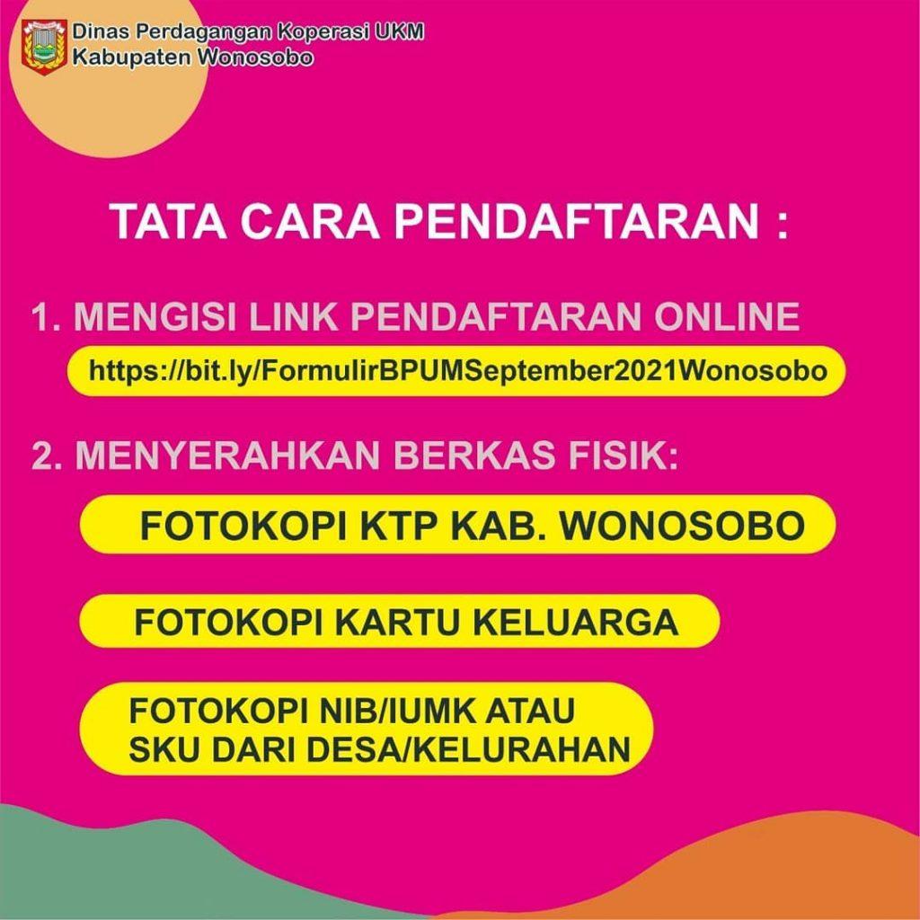 Brosur Pembukaan Pendaftaran Penerima BPUM 2021 Tahap IV Kabupaten Wonosobo 2