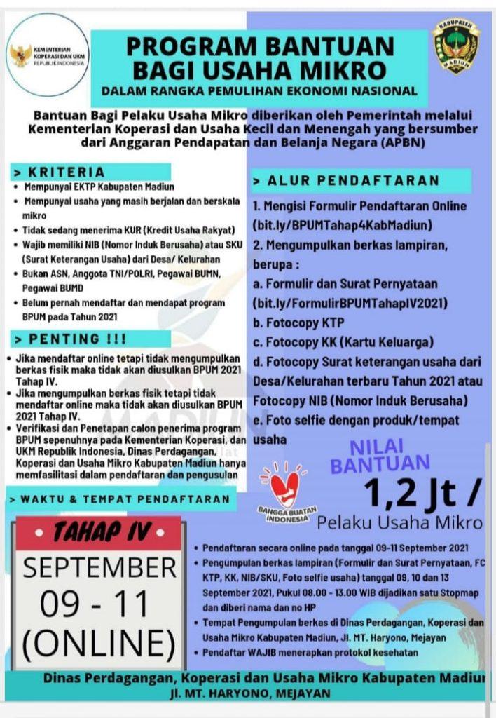 Brosur Pembukaan Pendaftaran Penerima BPUM 2021 Tahap IV Kabupaten Madiun