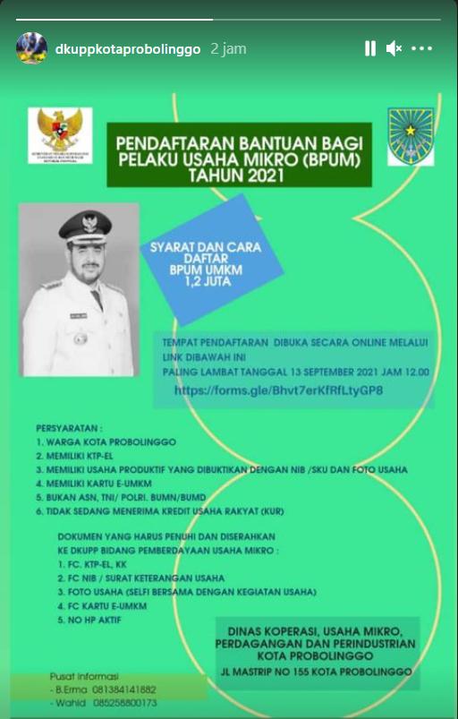 Brosur Pembukaan Pendaftaran Penerima BPUM 2021 Tahap IV Kota Probolinggo